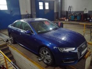 AutoMetria Geometria Kół Mechanik Nysa ustawianie zbieżności i kątów pochylenia kół Audi A4 B9